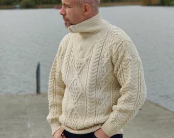 Organic Irish Wool Aran Zip Sweater - Cream - Undyed - 100% pure new wool - chunky and heavy - MADE IN IRELAND