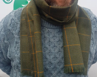 Irish soft lamswool wool scarf - 100% pure new wool - green with yellow check - unisex - hand fringed - HANDMADE IN IRELAND