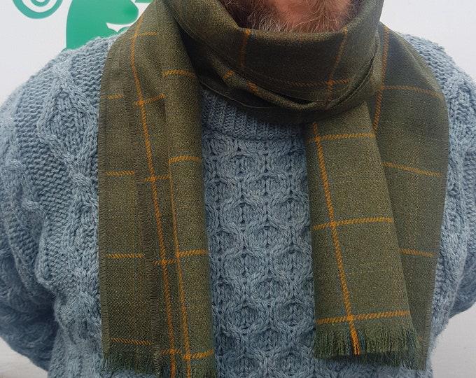 Irish soft lamswool wool scarf - 100% pure new wool - green with yellow check - unisex - hand fringed - HANDMADE IN IRELAND