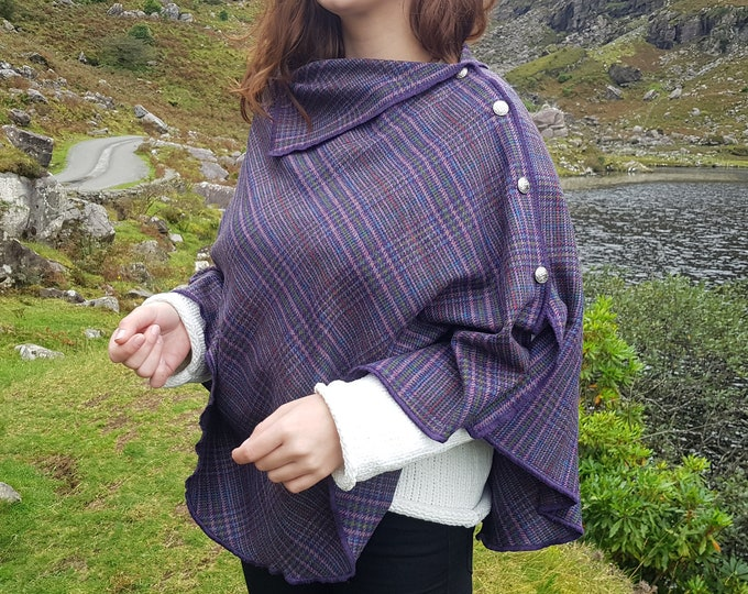 3in1 - Irish soft lambswool cape, poncho, shawl - tartan. plaid , check - lavender/pink/green/blue/red - HANDMADE IN IRELAND