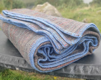 King / Queen Size Wool Blanket - Multicolour Stripes- 90″ x 100″ (228 x 254 cm) - 100% Pure New Irish Wool - Thick & Heavy - MADE IN IRELAND