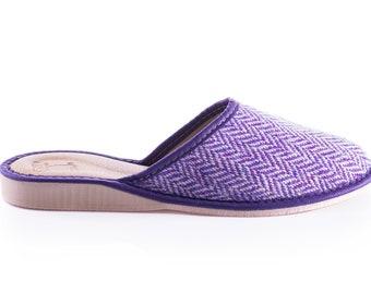 Womens Irish tweed & leather slippers - speckled purple/white herringbone - HANDMADE IN IRELAND