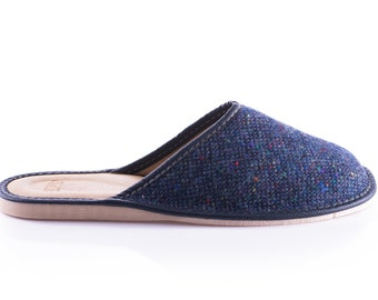 Gents Donegal Tweed Slippers - Navy Fleck - ready for shipping - MADE IN IRELAND