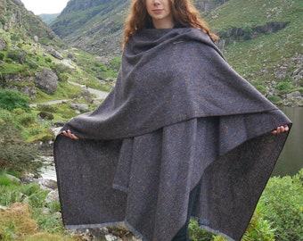 Irish Donegal tweed ruana,wrap,cape,coat,arisaid - speckled blue&navy herringbone  - 100% Pure New Wool - HANDMADE IN IRELAND