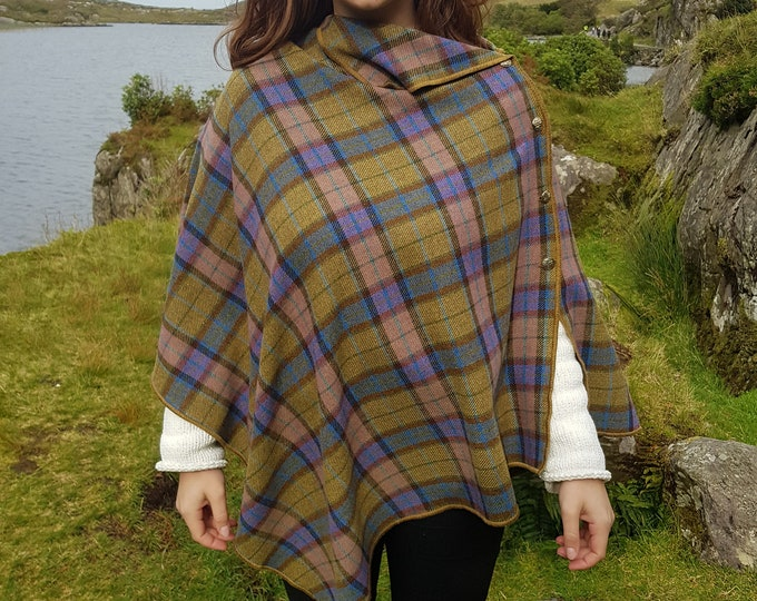 Irish soft lambswool poncho, cape, shawl in 1 piece! green/blue/pink tartan , plaid  check - 100% pure new wool - HANDMADE IN IRELAND