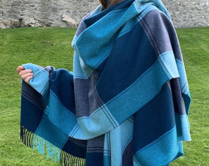 Irish Pure Lambswool Cape, Ruana, Wrap , Shawl - 100% Pure New Wool - Navy Teal Aqua Check - Supersoft & Warm -One Size- HANDMADE IN IRELAND