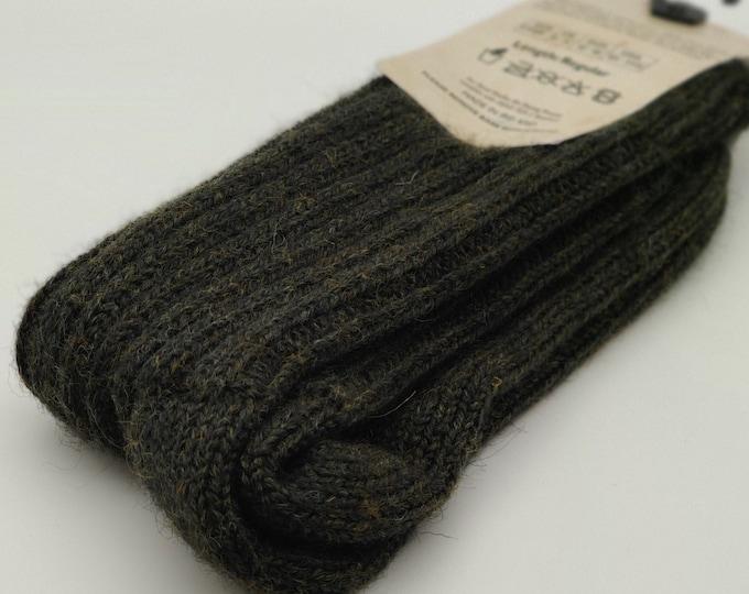 Irish thick organic wool socks - Snug socks in 100% pure new organic wool from Irish sheep - hiking socks - dark green - MADE IN IRELAND