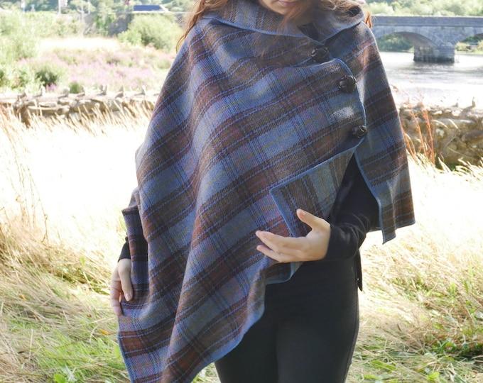 Versatile 3in1 - Irish tweed poncho, cape & shawl - blue/brown/green/purple tartan - plaid check - ready for shipping - HANDMADE IN IRELAND