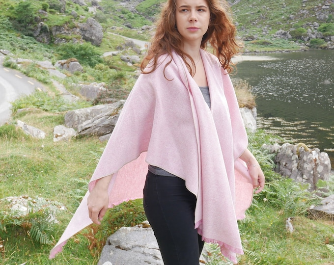 Irish tweed wool ruana,wrap,cape,plaid,coat,arisaid-pink & white chevron-100% wool-lightweight fabric-ready for shipping-HANDMADE IN IRELAND