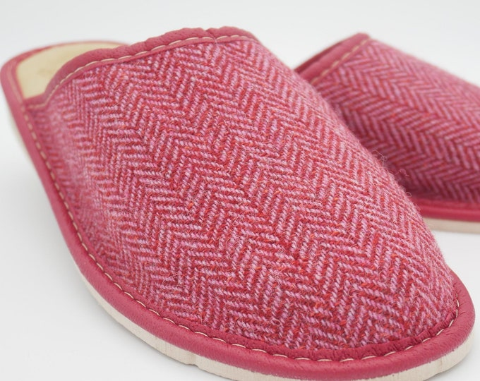 Womens Irish tweed & leather slippers - house shoes - red herringbone - HANDMADE IN IRELAND