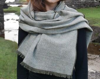 Irish tweed wool shawl, oversized scarf, stole - forest green/white herringbone - 100% wool - ready for shipping - HANDMADE IN IRELAND