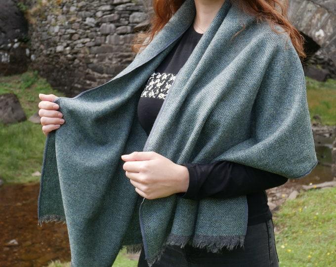Irish tweed wool shawl, oversized scarf, stole -grey/turquoise herringbone -100% wool -hand fringed -ready for shipping -HANDMADE IN IRELAND