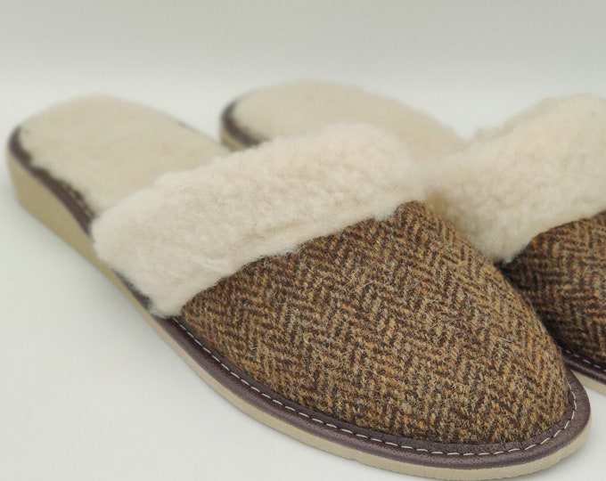 Womens Tweed Slippers - Brown/Bronze Herringbone - lined with sheep wool - ready for shipping - MADE IN IRELAND