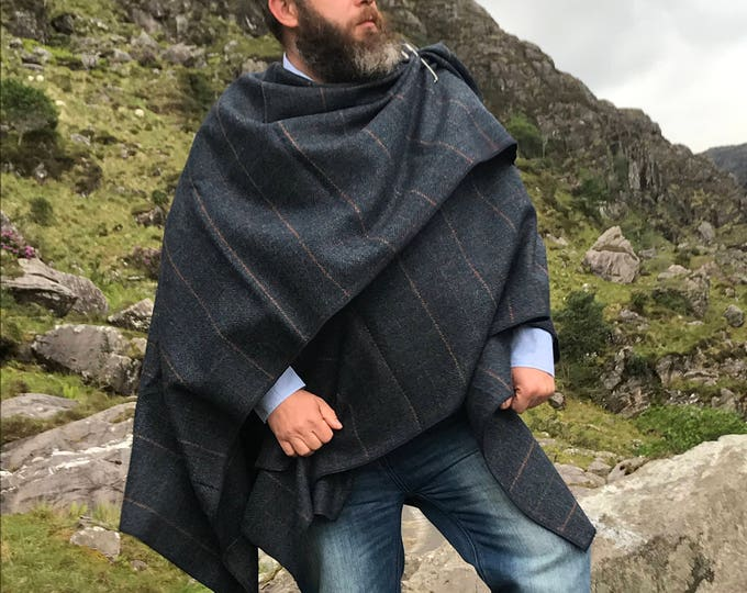 FREE SHIPPING -Irish tweed ruana, wrap, cape, coat, arisaid-navy herringbone with orange/purple overcheck- 100% wool - Handmade in Ireland