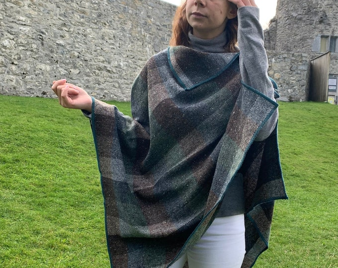 Irish Donegal tweed wool poncho, cape, shawl & skirt - green/teal/brown/beige block check - 100% Pure New Wool - HANDMADE IN IRELAND