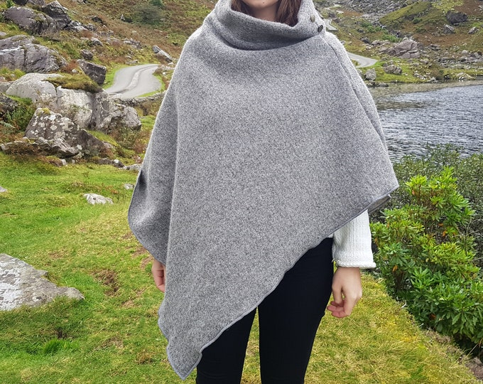 Irish felted wool turtleneck poncho - 100% pure new wool - very warm - light grey - ready for shipping - HANDMADE IN IRELAND