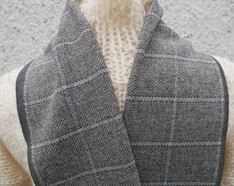 Irish tweed wool scarf -100% wool- beige/grey check - FREE SHIPPING - hand fringed -ready for shipping - unisex - Handmade in Ireland