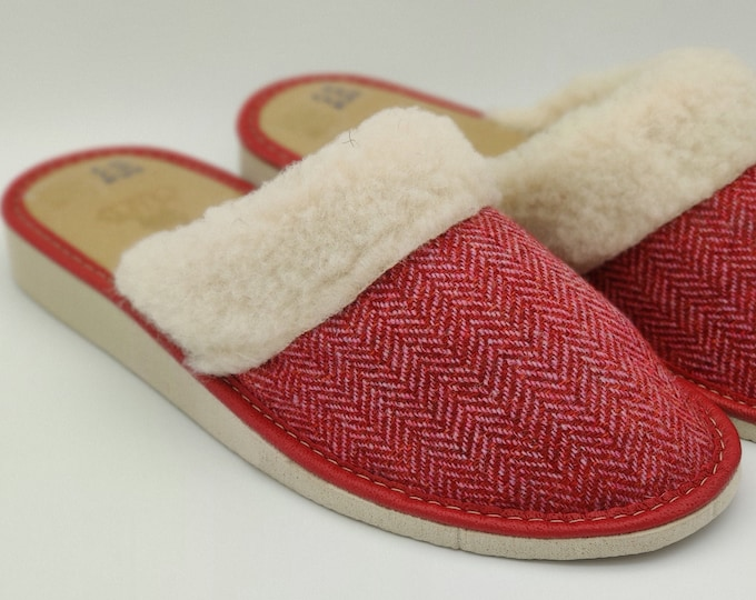 Womens Tweed Slippers - Red Herringbone - upper lined with pure wool - ready for shipping - MADE IN IRELAND