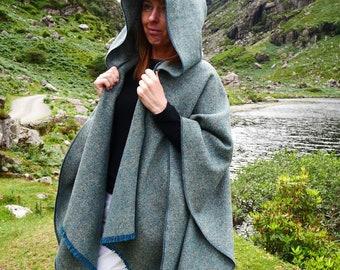 Irish tweed wool hooded ruana, wrap, arisaid - atlantic teal / grey  - heavy tweed -  HANDMADE IN IRELAND
