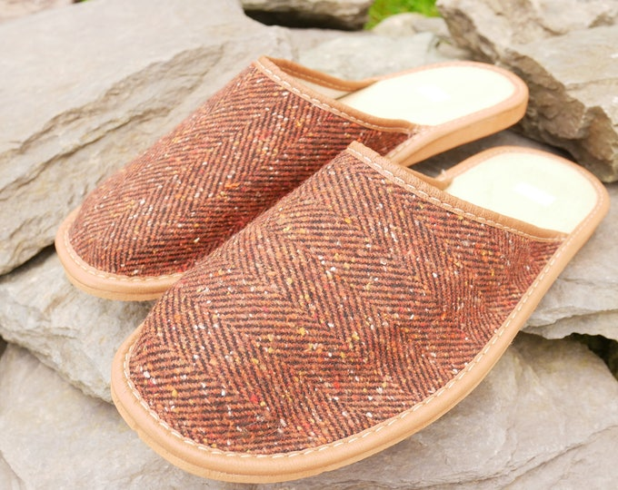 Irish Tweed & Leather slippers - FREE SHIPPING - with durable sole - brown/copper herringbone - Made in Ireland-ready for shipping