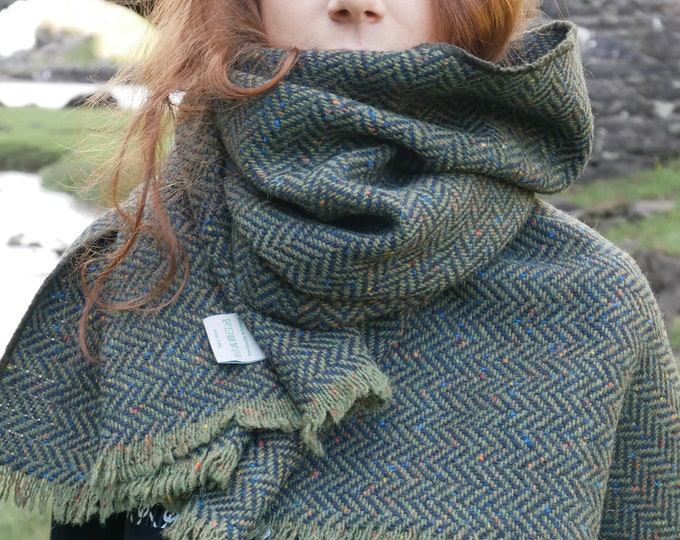 Irish tweed wool shawl,oversized scarf,stole -green/black speckled herringbone-100% wool-heavy tweed -ready for shipping-HANDMADE IN IRELAND