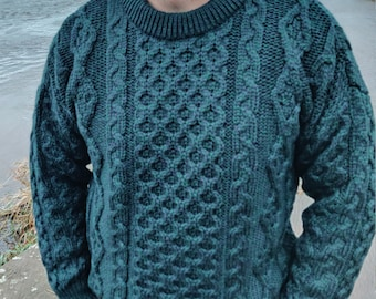 Traditional Aran Sweater - 100% pure new wool - bottle green / navy - chunky&heavy - MADE IN IRELAND - ready for shipping