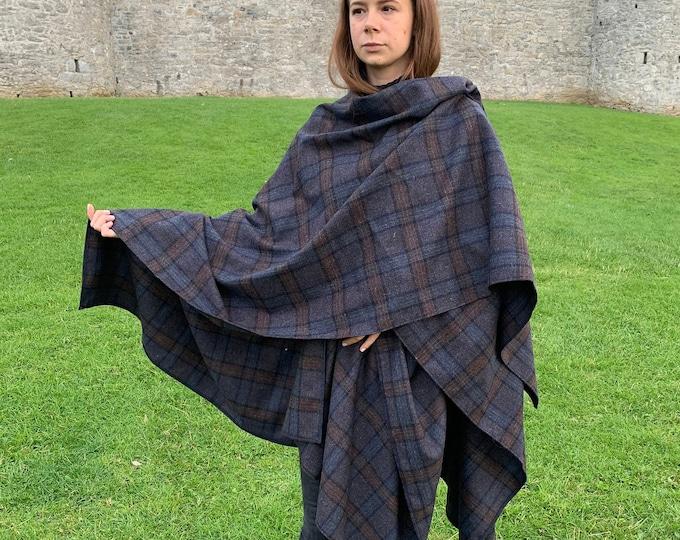 Irish lambswool tweed wool ruana, wrap, cape, cloak -navy blue / brown tartan / plaid check- 100% Pure New Wool -unisex- HANDMADE IN IRELAND