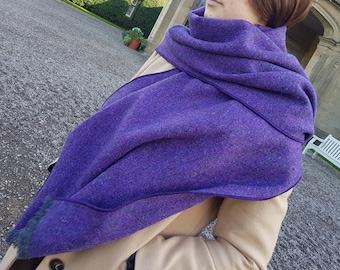 Irish tweed shawl, oversized scarf, stole - purple herringbone - 100% pure new wool - hand fringed - HANDMADE IN IRELAND