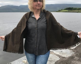 Irish tweed wool shawl - oversized scarf,wrap,stole - brown&dark moss green -medium weight fabric - 100% wool- Handmade in Ireland