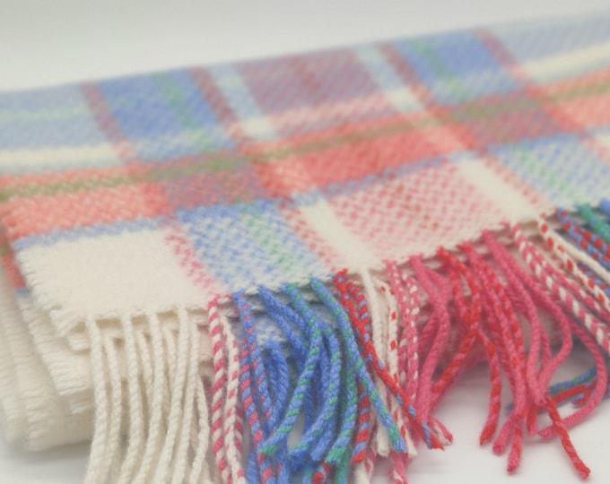 "Baby blanket - merino/cashmere(95/5) - supersoft - white/pink/blue/green tartan - plaid - check - 28"" x 39"" (70cm x 100cm) - MADE IN IRELAND"
