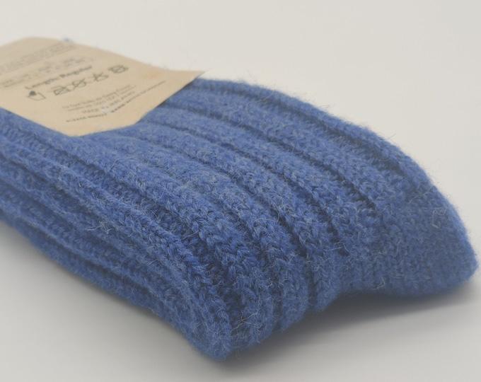 Irish thick wool socks - Snug socks in 100% pure new wool from Irish sheep - hiking socks - blue - MADE IN IRELAND
