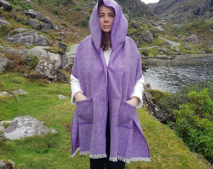 Irish tweed hooded shawl, oversized scarf, stole - purple herringbone  - 100% wool - hand fringed - ready for shipping - HANDMADE IN IRELAND