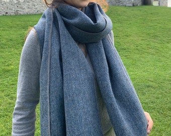 Irish Donegal Tweed Shawl, Oversized Scarf, Stole, Wrap - Denim/Grey Herringbone - 100% Pure New Wool - hand fringed - HANDMADE IN IRELAND