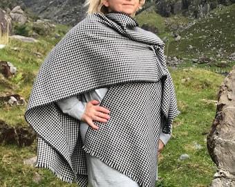 Irish soft lambswool ruana, wrap,cape,shawl,arisaid - black and white houndstooth - 100% pure new wool - HANDMADE IN IRELAND