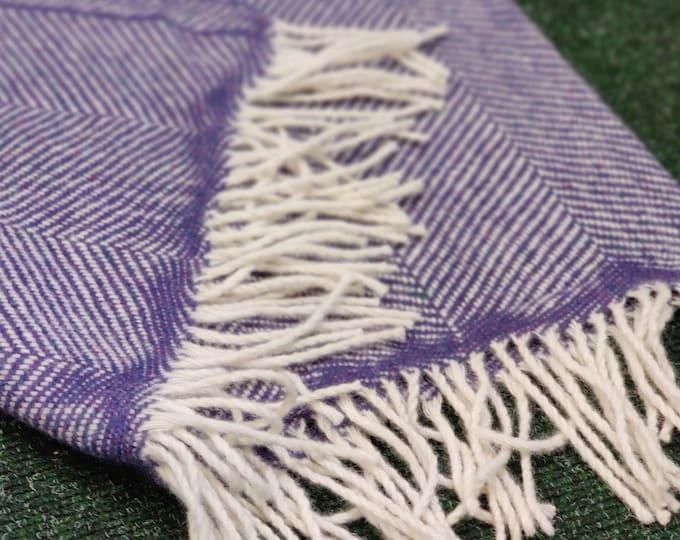 "Traditional Irish travel rug / throw / blanket - herringbone - with tassels- chunky&heavy - 100% pure new wool - 75"" X 51"" - Made in Ireland"