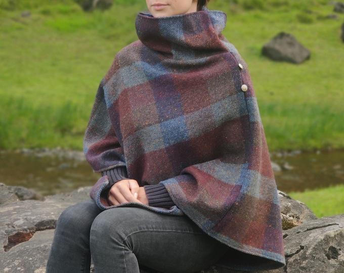 Irish Donegal tweed wool turtleneck poncho - burgundy/teal block check with fleck - speckled- 100% Pure New Irish Wool - HANDMADE IN IRELAND