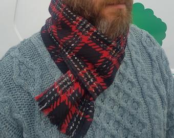 Irish woven wool scarf - 100% pure new wool - black / red tartan, plaid check with silver thread- unisex -hand fringed - HANDMADE IN IRELAND