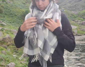 Extra Fine Merino Wool Shawl, oversized scarf, stole, wrap -white/grey block check- 100% Pure New Supersoft Merino Wool -HANDMADE IN IRELAND