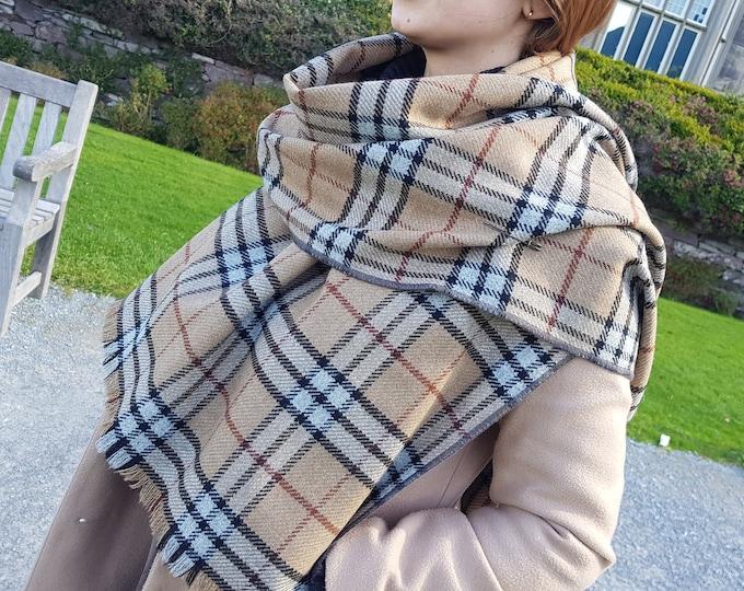 Irish soft lambswool shawl, oversized scarf, stole -camel/black/grey/brown tartan, check plaid- 100% wool- hand fringed -HANDMADE IN IRELAND