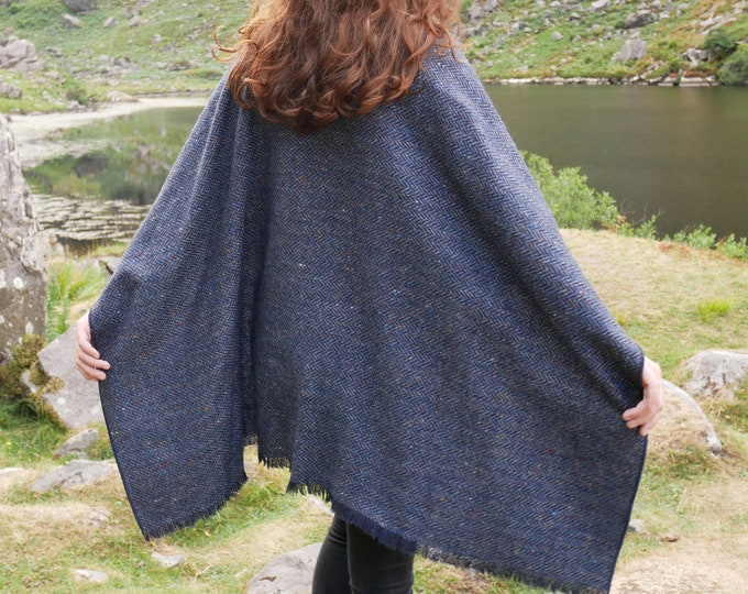 Irish tweed wool ruana,wrap,cape,coat,arisaid - speckled navy/blue herringbone - 100% wool -ready for shipping- HANDMADE IN IRELAND