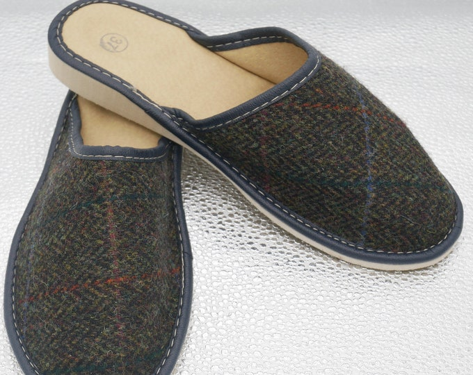 Womens Irish tweed & leather slippers - forest green herringbone with overcheck - MADE IN IRELAND