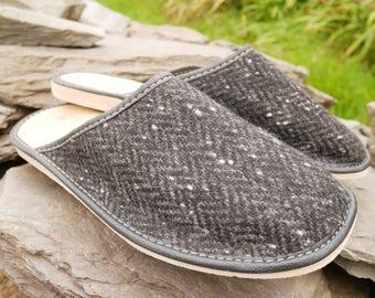 Irish Tweed & genuine leather Mens slippers-  optional upper wool lining - with durable sole - black/grey herringbone - HANDMADE IN IRELAND