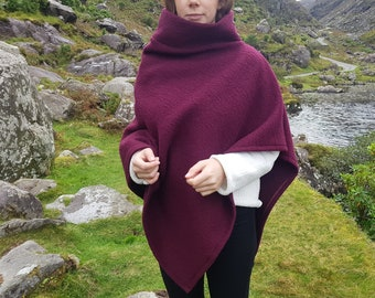Irish felted wool turtleneck poncho - 100% pure new wool - very warm - burgundy - ready for shipping - HANDMADE IN IRELAND