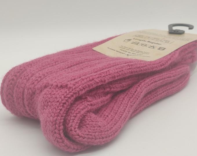 Irish thick wool socks - Snug socks in 100% Pure New Wool from Irish sheep - hiking socks - raspberry pink  - MADE IN IRELAND