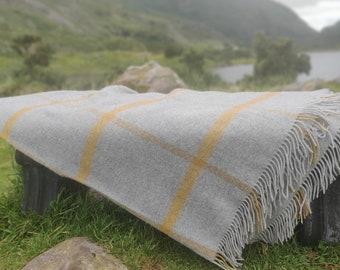 Merino Supersoft Lambswool Blanket / Throw - Grey Mustard Check - 150 x 200cm (60 x 78'') - 100% Pure New Merino Lambswool - MADE IN IRELAND
