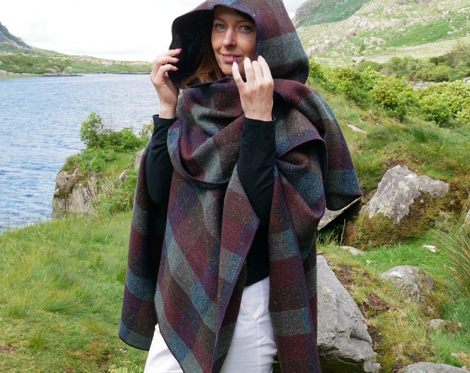 Irish tweed wool hooded ruana, wrap, arisaid - burgundy & green check  - heavy tweed - HANDMADE IN IRELAND