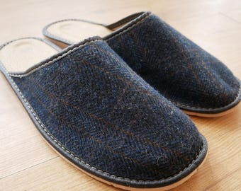 Irish Tweed & Leather slippers  - lined with pure new wool - durable sole-navy/blue herringbone with orange overcheck - HANDMADE IN IRELAND