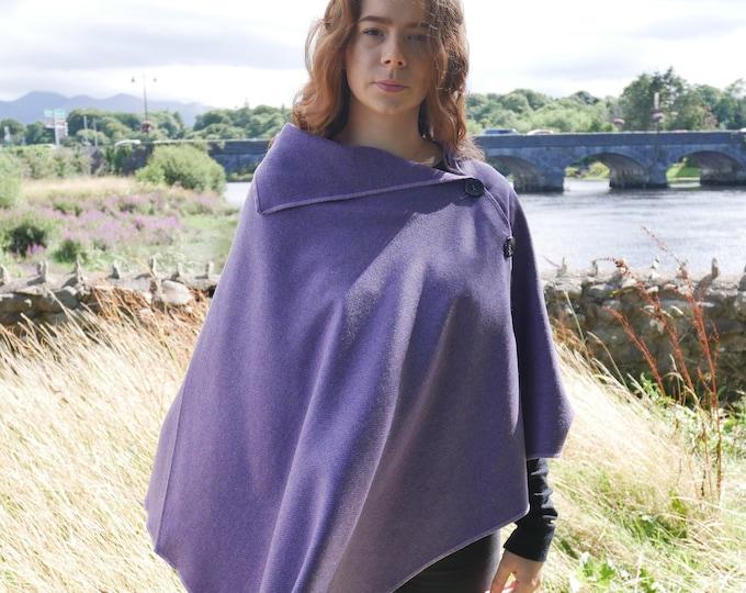 Versatile 3in1-Irish tweed wool poncho, cape & shawl - lilac / navy herringbone - 100% soft wool - ready for shipping - HANDMADE IN IRELAND