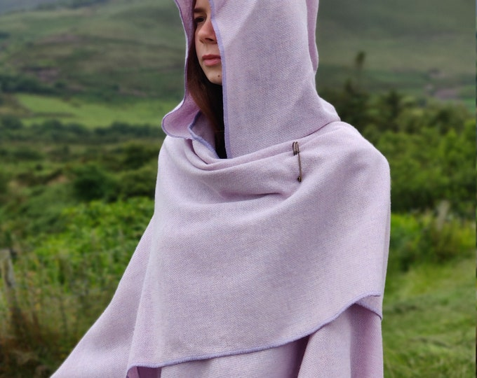 Irish wrap, ruana, cape, cloak - hooded - 100% pure new wool - lilac/lavender/white chevron - HANDMADE IN IRELAND