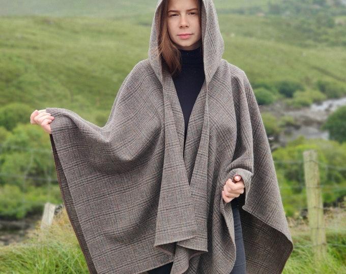 Irish woven wool hooded ruana wrap. cape, cloak, arisaid - grey/bronze/brown tartan / plaid check - really warm - HANDMADE IN IRELAND